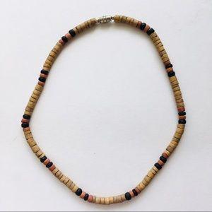 Panama Jack wood & shell beaded necklace